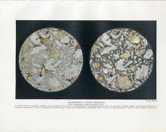 c. 1900 LAVA UNDER MICROSCOPE original antique print - lava rocks - volcano volcanic rock