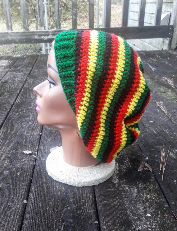 Rasta reggae red yellow green black hippie slouch beanie hat