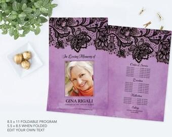 DIY Funeral Program Template ~ Black Lace and Purple Theme, Vintage Memorial Service Program, Final Tribute, Printable Customizable, Elegant