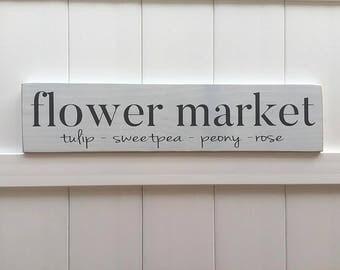 flower market sign // Hand Painted Sign // Rustic Modern Farm House // girl bedroom farmhouse deor // Farmhouse Artwork // Farmhouse Decor