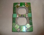 Mosaic Electrical Outlet Cover, Wall Art, Wall Hanging, Shades of Green