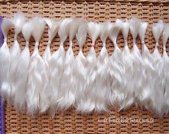 Doll Hair Combed Mohair 7 in off milky white mohair locks angora goat/ reroot Reborn, Blythe, bjd, waldorf , minifee, lati wig making