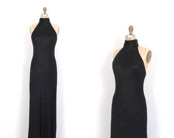 Vintage 1970s Dress / 70s Knit Turtleneck Maxi Dress / Black ( small S )