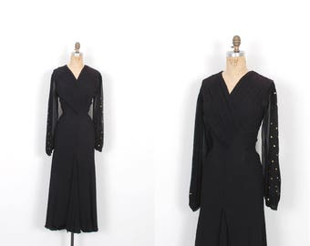 Vintage 1930s Dress / 30s Bias Cut Gown With Studded Sleeves / Black and Gold ( medium M )