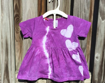 Baby Valentine's Day Dress, Purple Baby Dress, Purple Heart Dress, Purple Baby Dress Set, Tie Dye Baby Dress, Baby Girl Gift (18 months)