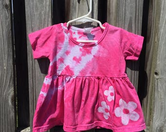 Pink Baby Dress, Flower Girls Dress, Pink Flower Dress, Baby Girl Gift, Baby Shower Gift, Tie Dye Baby Dress, Batik Baby Dress (18 months)