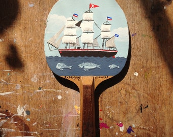 Original painted bat: The Clipper Ship IV, with fish