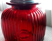 Vintage Red Apothecary Jar Ribbed Glass Storage Cannister