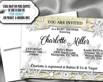 Printed Party Invitations, Invite with Envelope, Winter Snowflakes, Bridal Shower, Baby Shower, Birthday, Engagement Party, Silver or Gold