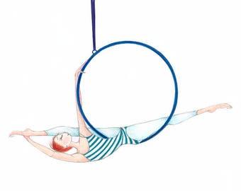 "Aerial Dancer-Hoop Lyra Ring-Giclee Print of Original Art-6""x9""-Aerial Dance Ballet-Aerialist-Redhead Ginger-Watercolor-Blue Green-WallArt"