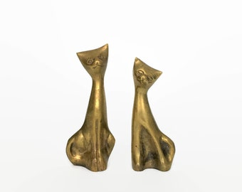 Vintage Pair of Brass Cat Figurines // Mid Century Modern Design Brass Cat