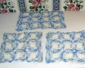 3 Piece Crocheted Blue and White Antimacassar Decor, Arm and Back Cover, Star designed, Designers Centerpiece, Parlor Table