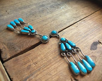 Vintage Zuni Robert Bernice Leekya natural turquoise sterling silver earrings, Native American Indian jewelry turquoise, chandelier earrings