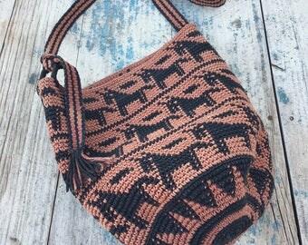 Vintage Mochila shoulder bag faded black and mauve, hippie boho ethnic cross body bag, festival tote bag, woven bag, ethnic bag horse theme