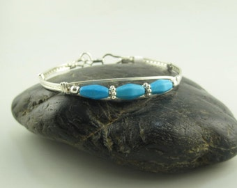 WSB-0222 Handmade Blue Chalk Turquoise Bangle Bracelet Wire Wrapped with Argentium Sterling Silver Wire
