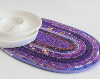 Fabric Coiled Mat / Coiled Rope Mat / Placemat / Hot Pad / Trivet / Purple Passion Oval Coiled Mat by PrairieThreads