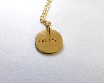 BELIEVE Charm Necklace in Gold fill, Gift for her, Motivational Necklace, Hand stamped Charms by m. frances