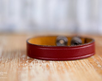 CUSTOM HANDSTAMPED CUFF - bracelet - personalized by Farmgirl Paints -skinny brown leather cuff