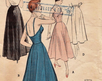 Butterick 5376 / Vintage 50s Sewing Pattern / Evening Slip Petticoat Lingerie / Size 12 Bust 30