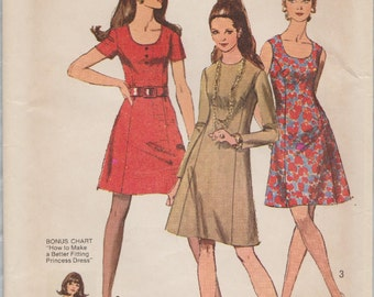 Simplicity 8884 / Vintage 1970s Sewing Pattern / Princess Dress / Size 18 Bust 40