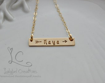 Hand Stamped Necklace, Gold Bar Necklace, Personalized Necklace, Bar Name Necklace, Hand Stamped Jewelry, Nameplate Necklace, Gift for Her