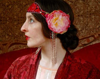 Art Nouveau Inspired Headpiece... Vintage Ribbon... Floral Head Piece... Evelyn Nesbit Gilded Age Fantasy Wear