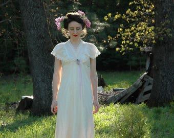 Size S/M... Vintage 1970s Victorian Revival Romantic Dress... Neo Victorian 70s Maxi Dress