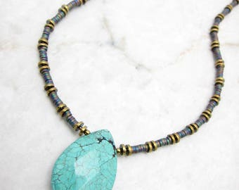 Simple Boho Necklace. Navajo Necklace. Turquoise Teardrop. Southwestern Necklace. Modern Boho Necklace. Gift for Her. TaraLynEvans. KANTI
