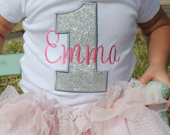Girls First Birthday Outfits - First Birthday Outfits - First Birthday Shirt - Pink and Silver First Birthday