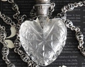 RESERVED For Danis. CHATELAINE Antique French Heart Perfume Bottle Assemblage Necklace. 1800's Hand Cut Crystal. Repousse 800 Silver
