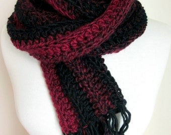 Red and Black Striped Hand Knit Scarf - Crochet Scarves - Red Knitted Scarf