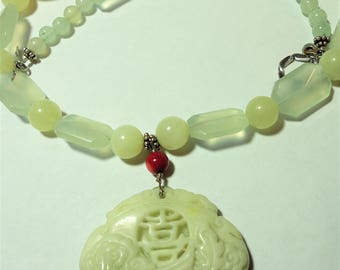 Carved Green White Jadeite Phoenix Dragon Necklace w Serpentine Jade Faceted Prehenite Beads and Carved Ox Bone Beads with Sterling Silver