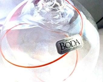 Vintage Glass Kosta Boda Ornament, Red Line Kosta Boda Ornament, Hand Blown Koda Boda Vintage Globe Ornament, Minimalist Glass Ornament