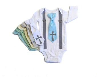 Baby Boy Baptism Outfit, boys church clothes, infant boy, toddler boy, christening outfit, cross tie, blue tie, baptism bodysuit, newborn