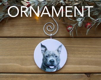 Pitbull Ornament, Tree Decoration, Tree Ornament, Vintage Ornament, Dog Gift, Christmas Gift, Stocking Stuffer, Free Shipping