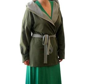 Wrap jacket, Hooded sweater, Wrap cardigan, Plus size jacket, Womens plus size clothing, Womens clothing, Jacket coat, Dark olive green wrap