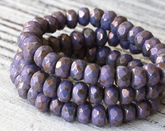 5x3mm Rondelle Beads - Jewelry Making Supply - Czech Glass Beads - Firepolished Rondelle - Purple Bronze Luster - 3x5mm Rondelle (30 beads)