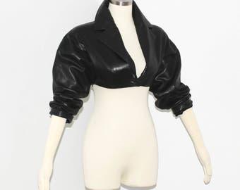 AZZEDINE ALAIA Vintage Jacket Black Leather Cropped  Bolero Coat - AUTHENTIC -