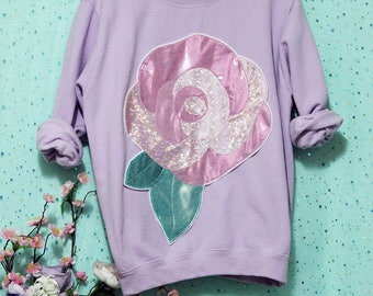 Giant Holographic & Metallic Rose Applique Sweatshirt - Holographic or Fluffy Many Colors Sizes S-5X Plus Size Available Pastel Goth