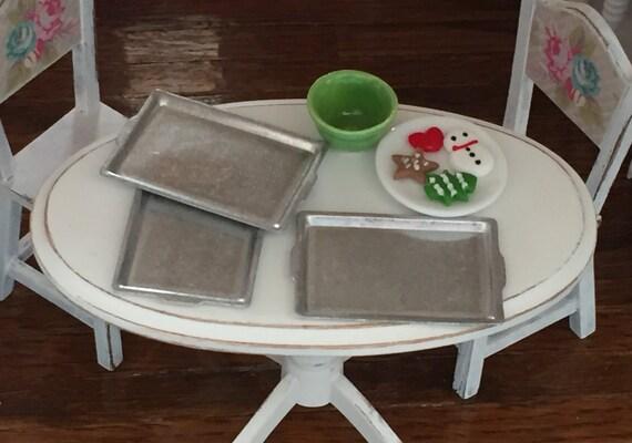 Miniature Aluminum Aluminum Baking Pans, Cookie Sheets 3pcs, Dollhouse Miniature, 1:12 Scale, Dollhouse Kitchen Accessory, Miniature Baking