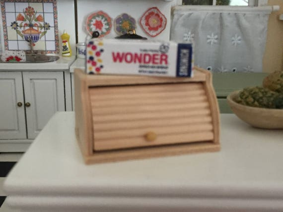 Miniature Bread Box and Loaf of Wonder Bread, Dollhouse Miniatures, 1:12 Scale, Dollhouse Decor, Accessory, Mini Food