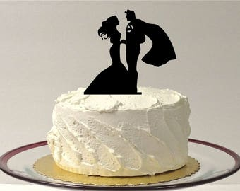 MADE In USA, Superhero and Bride Wedding Cake Topper, Silhouette Wedding Cake Topper, Bride Groom Wedding Cake Topper, Silhouette Superhero