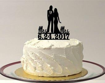 MADE In USA, Lesbian Wedding Cake Topper Personalized, Same Sex Cake Topper, Gay Wedding Cake Topper LGBT Mrs and Mrs Wedding Cake Topper