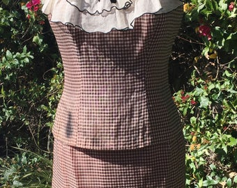 1960s Two-Piece Pink and Black Gingham Dress
