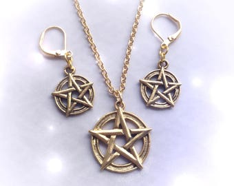 Pentacle Earring Necklace set, Wiccan witch, gold plated