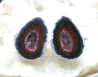 Geode Halves Silver Dipped Ear Stud, Natural Mexican Tobasco Agate Half Geode Earrings, S1