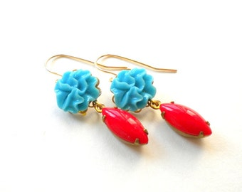 Red Dangle Earrings Blue Flower Earrings Gold Dangle Earrings Vintage Red Glass Earrings Red Teardrop Earrings Red Gold Earrings