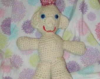 Pink & White  Hair Troll Doll Crochet Troll Amigurumi Troll Doll Stuffed Toy