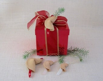 Handmade Ceramic Fortune Cookie Tree Ornaments / 4 Clay Package Tie-Ons - Gift Package Decoration-  Wishing Joy & Love -  Gift Bottle Tag