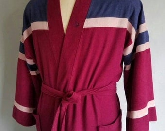 Vintage 70s DIOR MONSIEUR Berry Colored Robe OSFA
